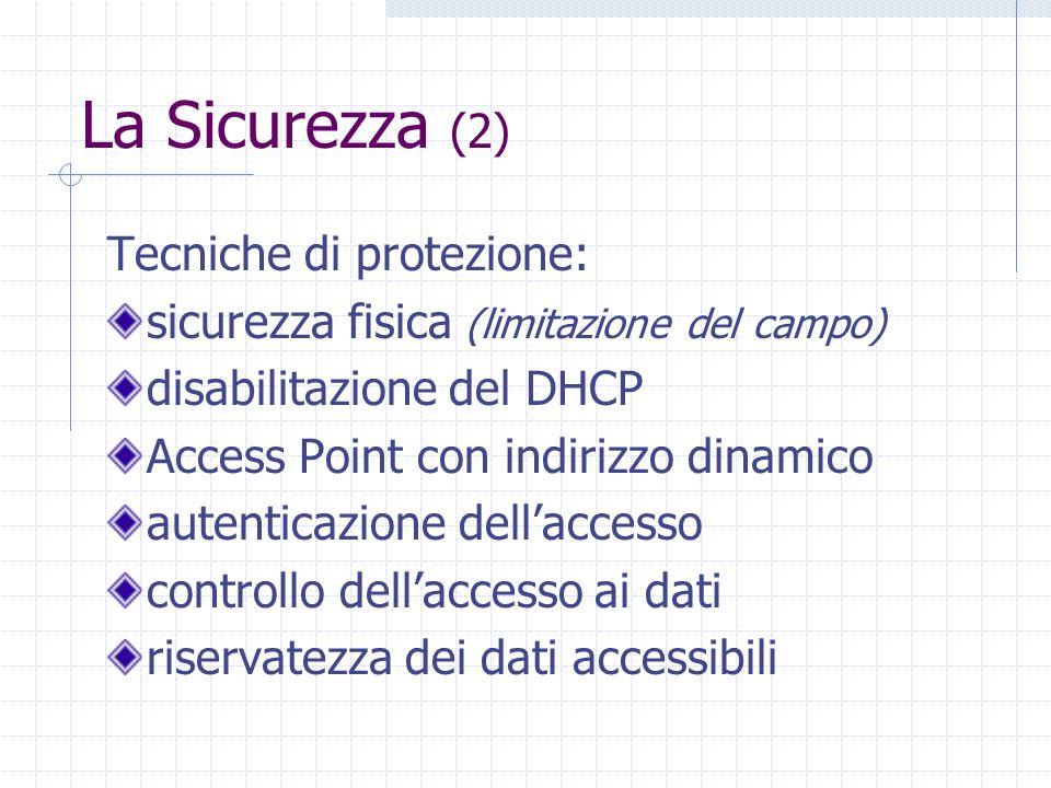 La Sicurezza (2) Tecniche di protezione: sicurezza fisica (limitazione del campo) disabilitazione del DHCP Access Point con indirizzo dinamico autenti