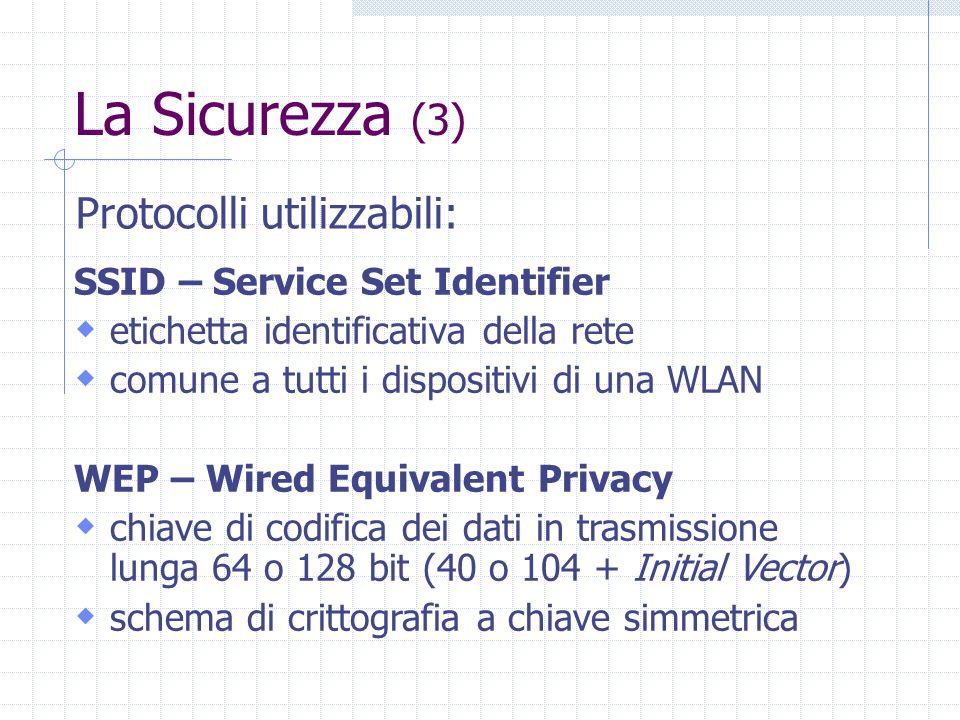 La Sicurezza (3) SSID – Service Set Identifier etichetta identificativa della rete comune a tutti i dispositivi di una WLAN WEP – Wired Equivalent Pri