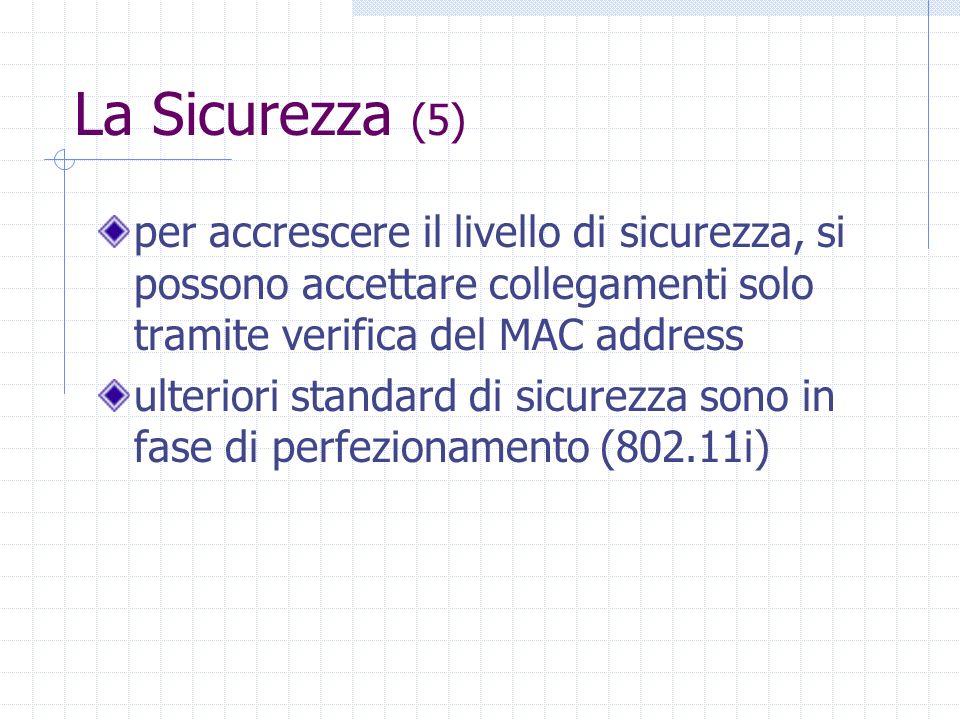 La Sicurezza (5) per accrescere il livello di sicurezza, si possono accettare collegamenti solo tramite verifica del MAC address ulteriori standard di