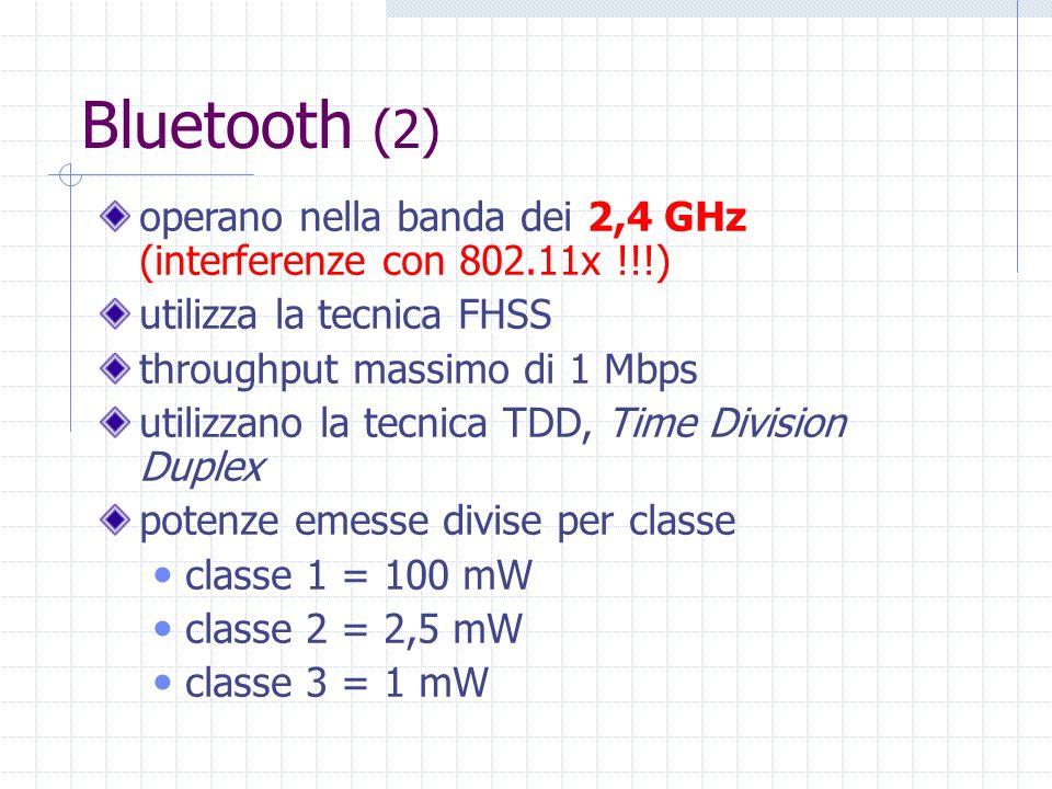 Bluetooth (2) operano nella banda dei 2,4 GHz (interferenze con 802.11x !!!) utilizza la tecnica FHSS throughput massimo di 1 Mbps utilizzano la tecni