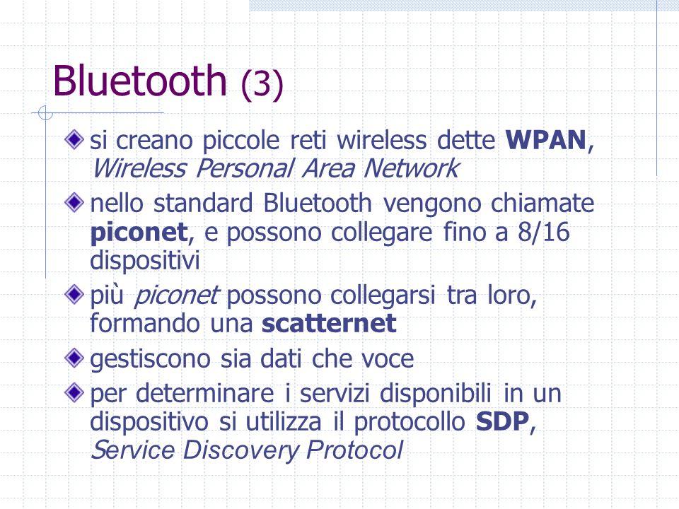 Bluetooth (3) si creano piccole reti wireless dette WPAN, Wireless Personal Area Network nello standard Bluetooth vengono chiamate piconet, e possono