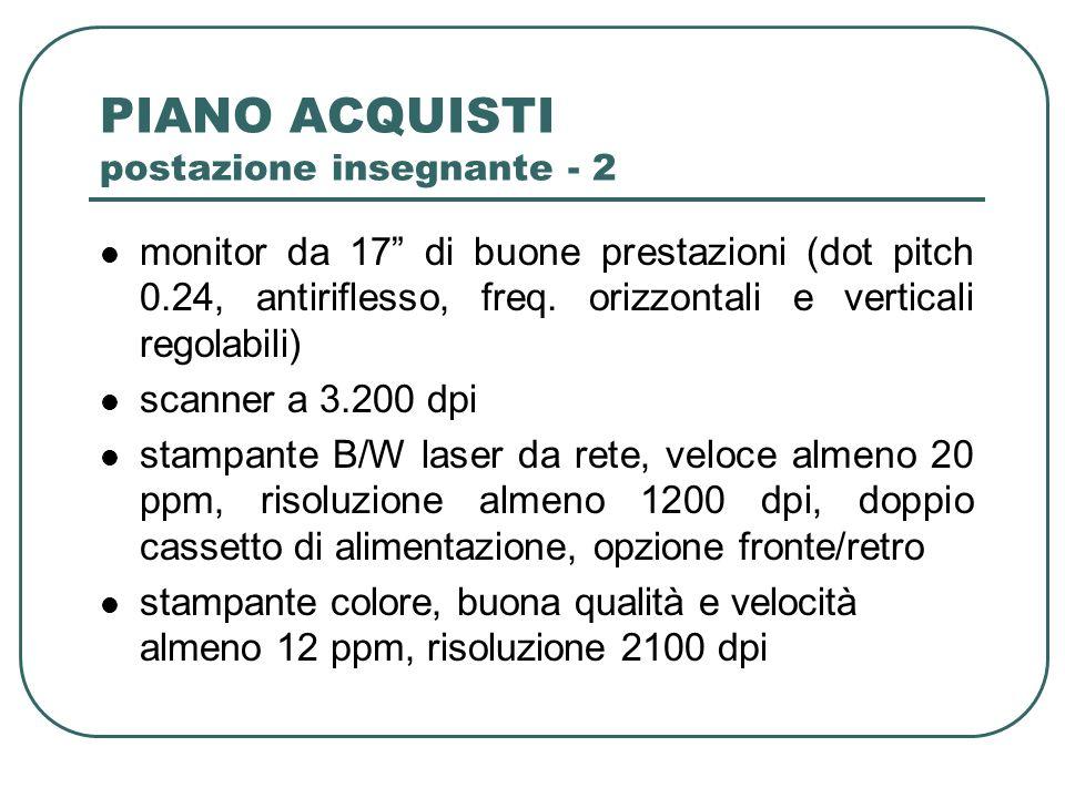 PIANO ACQUISTI postazione insegnante - 2 monitor da 17 di buone prestazioni (dot pitch 0.24, antiriflesso, freq.
