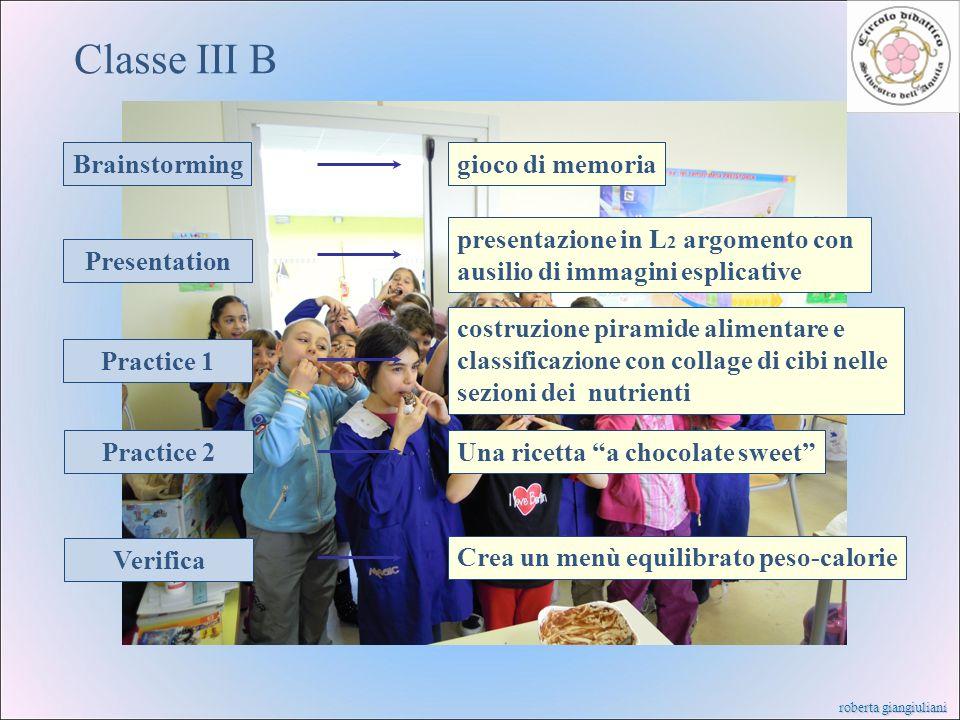 roberta giangiuliani Classe III B Brainstorming Presentation Practice 1 Practice 2 Verifica gioco di memoria presentazione in L 2 argomento con ausili