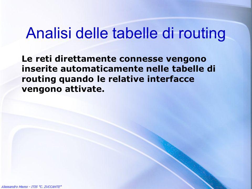 Analisi delle tabelle di routing Le reti direttamente connesse vengono inserite automaticamente nelle tabelle di routing quando le relative interfacce