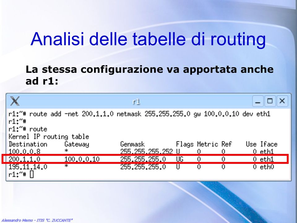 Analisi delle tabelle di routing La stessa configurazione va apportata anche ad r1: