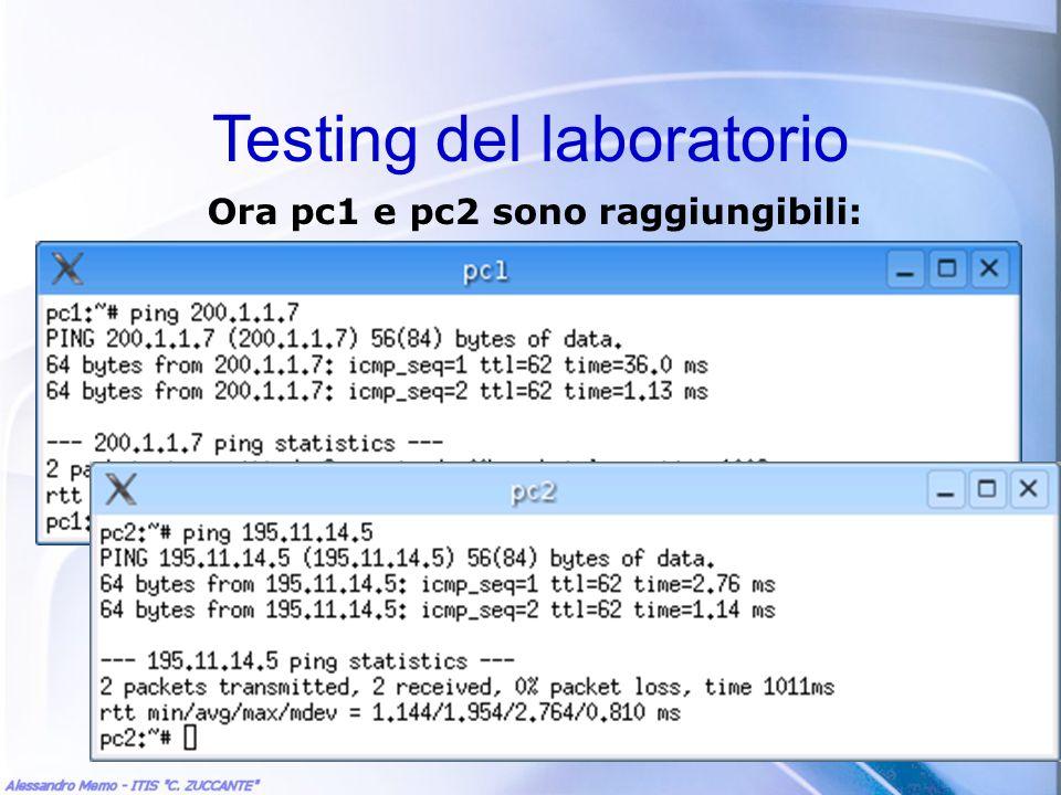 Testing del laboratorio Ora pc1 e pc2 sono raggiungibili: