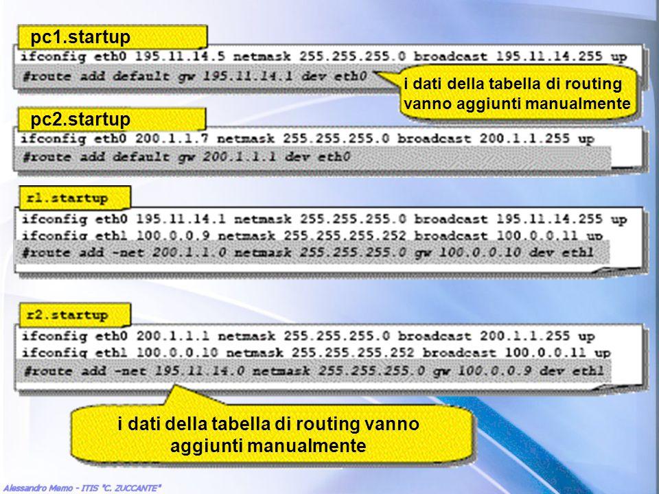 pc1.startup pc2.startup i dati della tabella di routing vanno aggiunti manualmente