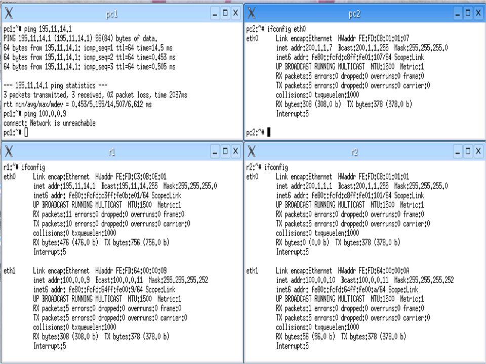 Siamo sicuri che i pacchetti di richiesta di echo arrivi allinterfaccia eth1 di r2.