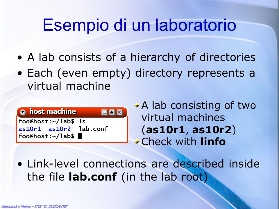 A lab consists of a hierarchy of directories Each (even empty) directory represents a virtual machine Link-level connections are described inside the file lab.conf (in the lab root) foo@host:~/lab$ ls as10r1 as10r2 lab.conf foo@host:~/lab$ host machine A lab consisting of two virtual machines (as10r1, as10r2) Check with linfo Esempio di un laboratorio