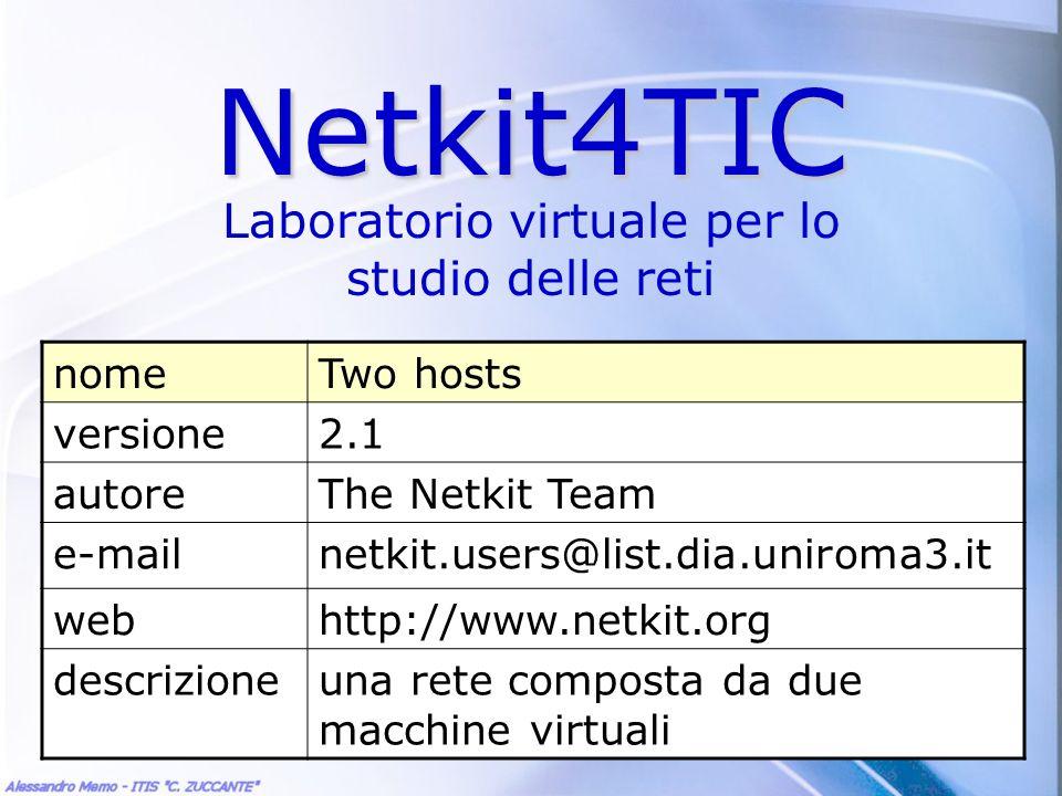 Netkit4TIC Laboratorio virtuale per lo studio delle reti nomeTwo hosts versione2.1 autoreThe Netkit Team e-mailnetkit.users@list.dia.uniroma3.it webht