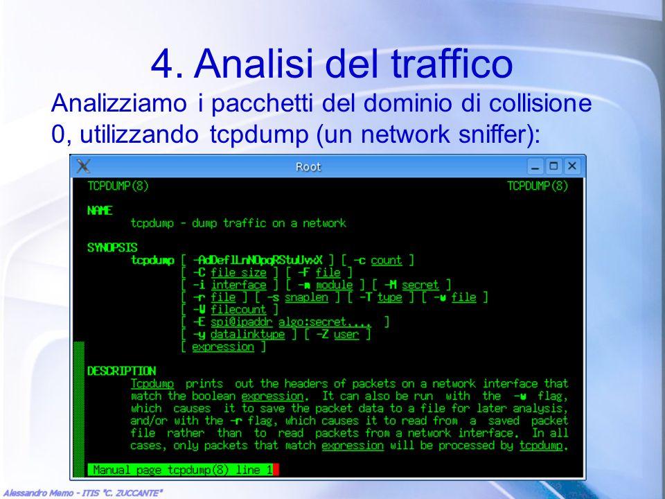 4. Analisi del traffico Analizziamo i pacchetti del dominio di collisione 0, utilizzando tcpdump (un network sniffer):