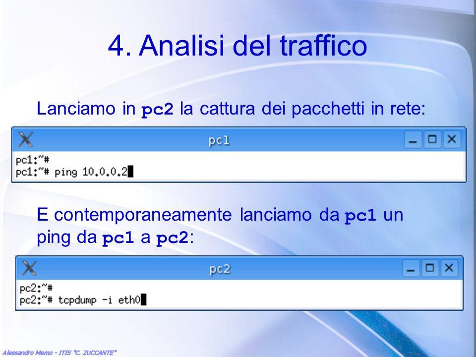 4. Analisi del traffico Lanciamo in pc2 la cattura dei pacchetti in rete: E contemporaneamente lanciamo da pc1 un ping da pc1 a pc2 :