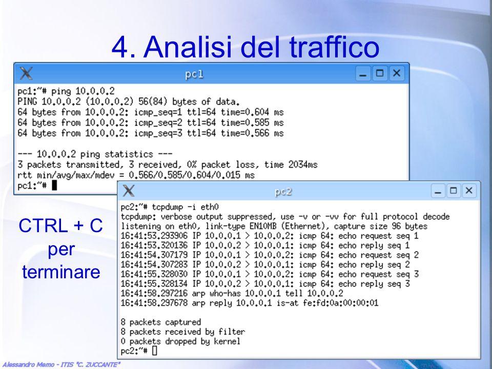 4. Analisi del traffico CTRL + C per terminare