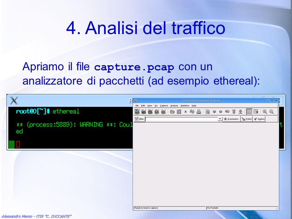 4. Analisi del traffico Apriamo il file capture.pcap con un analizzatore di pacchetti (ad esempio ethereal):