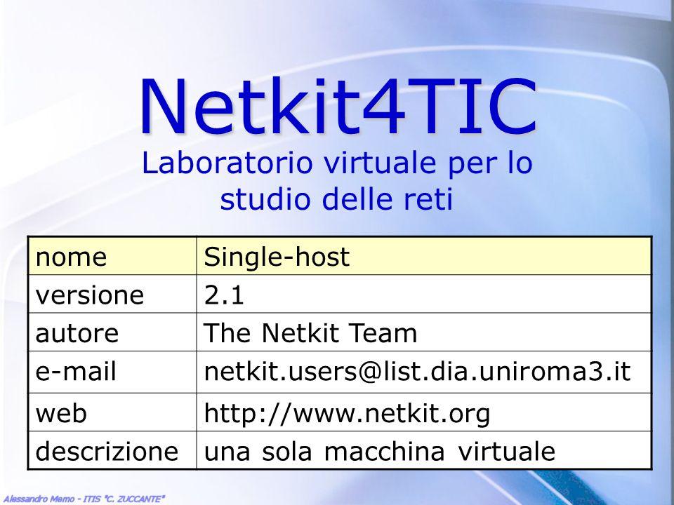 Un solo host Lesempio più semplice di rete: una sola macchina virtuale Suggerimento: prima di impostare un qualsiasi laboratorio netkit, tracciare uno schema chiaro dello scenario che si vuole emulare.