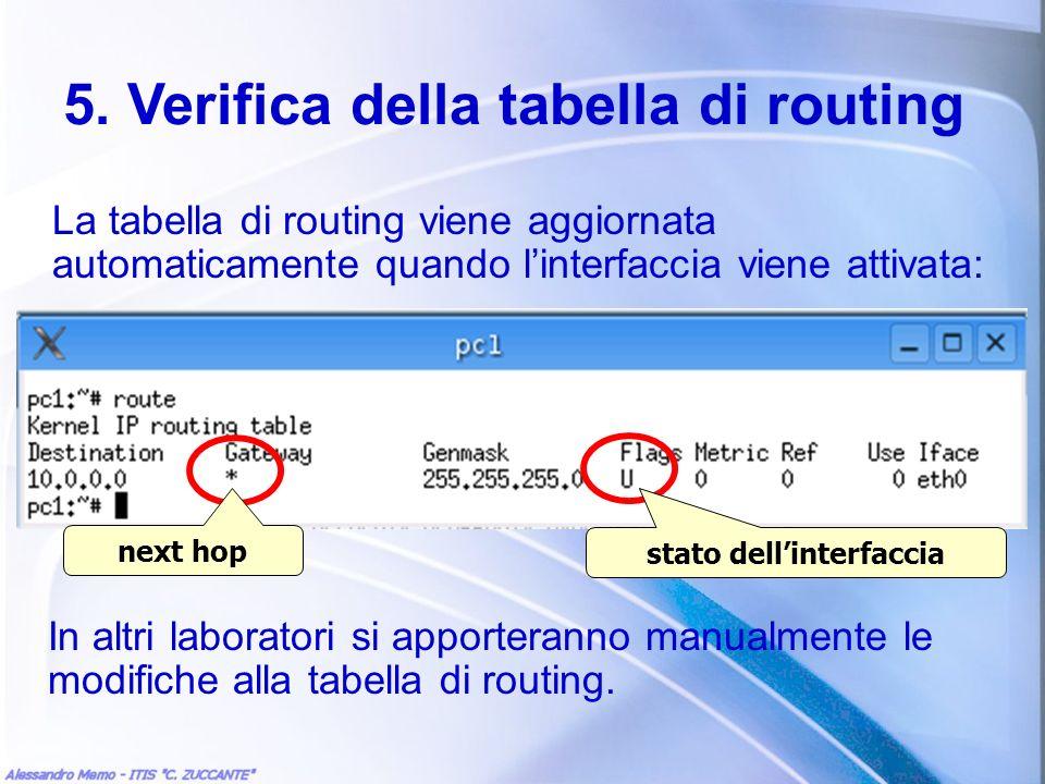 5. Verifica della tabella di routing La tabella di routing viene aggiornata automaticamente quando linterfaccia viene attivata: In altri laboratori si