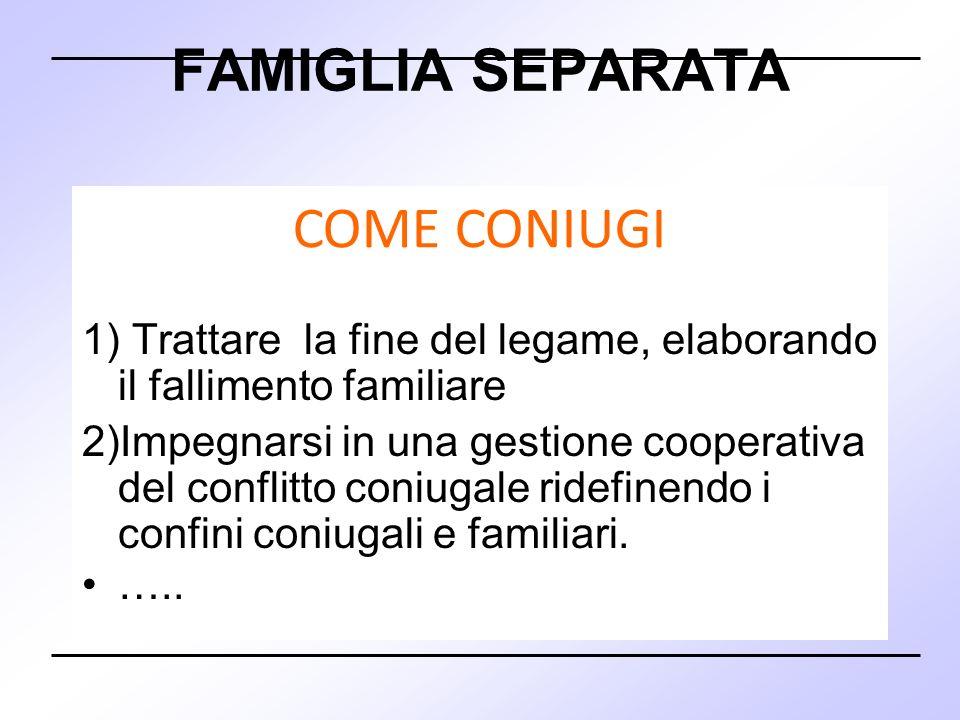 FAMIGLIA SEPARATA 1) Trattare la fine del legame, elaborando il fallimento familiare 2)Impegnarsi in una gestione cooperativa del conflitto coniugale