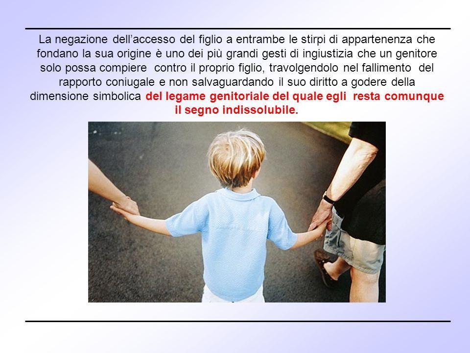 La negazione dellaccesso del figlio a entrambe le stirpi di appartenenza che fondano la sua origine è uno dei più grandi gesti di ingiustizia che un g
