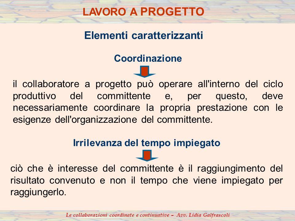 Le collaborazioni coordinate e continuative – Avv. Lidia Galfrascoli Coordinazione il collaboratore a progetto può operare all'interno del ciclo produ
