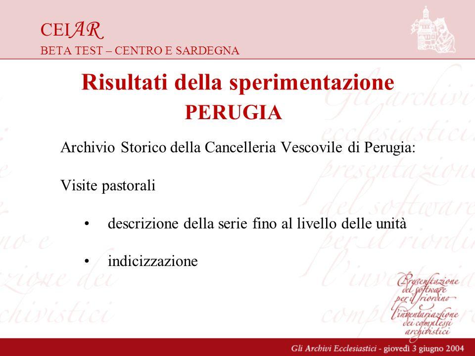CEI AR BETA TEST – CENTRO E SARDEGNA Archivio Storico della Cancelleria Vescovile di Perugia: Visite pastorali descrizione della serie fino al livello