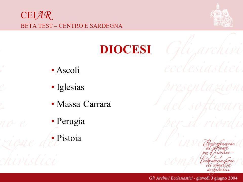 CEI AR BETA TEST – CENTRO E SARDEGNA DIOCESI Ascoli Iglesias Massa Carrara Perugia Pistoia