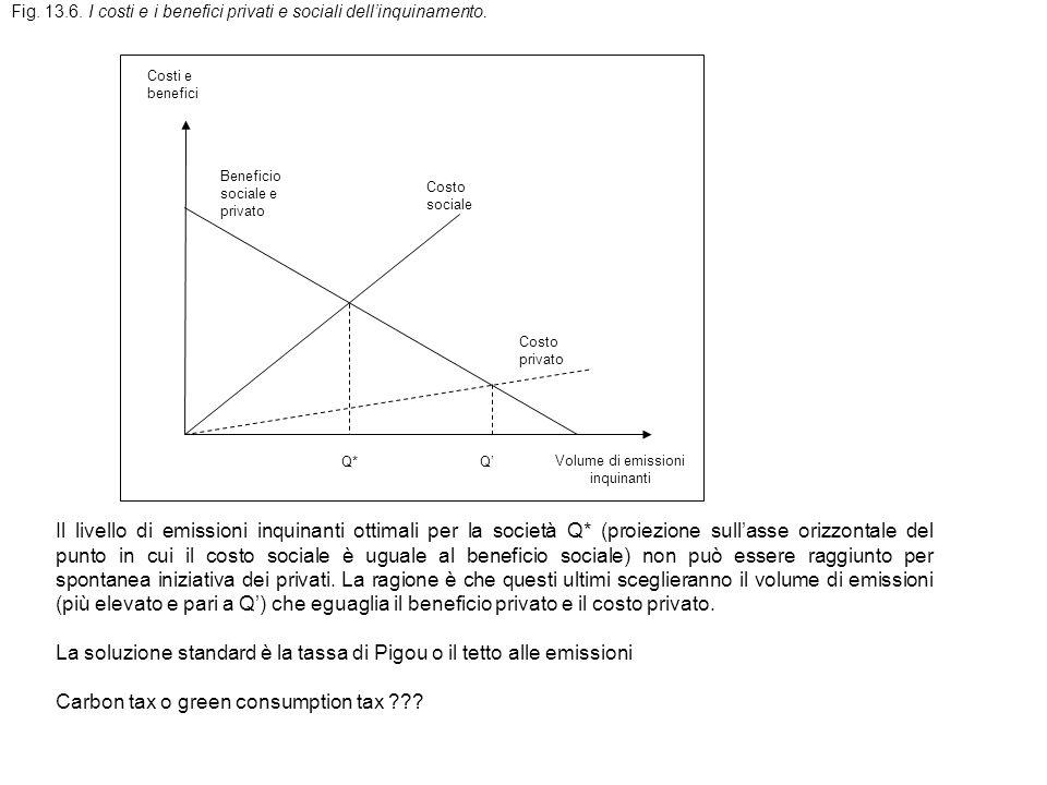 Fig.13.6. I costi e i benefici privati e sociali dellinquinamento.