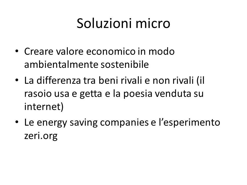 Soluzioni micro Creare valore economico in modo ambientalmente sostenibile La differenza tra beni rivali e non rivali (il rasoio usa e getta e la poesia venduta su internet) Le energy saving companies e lesperimento zeri.org
