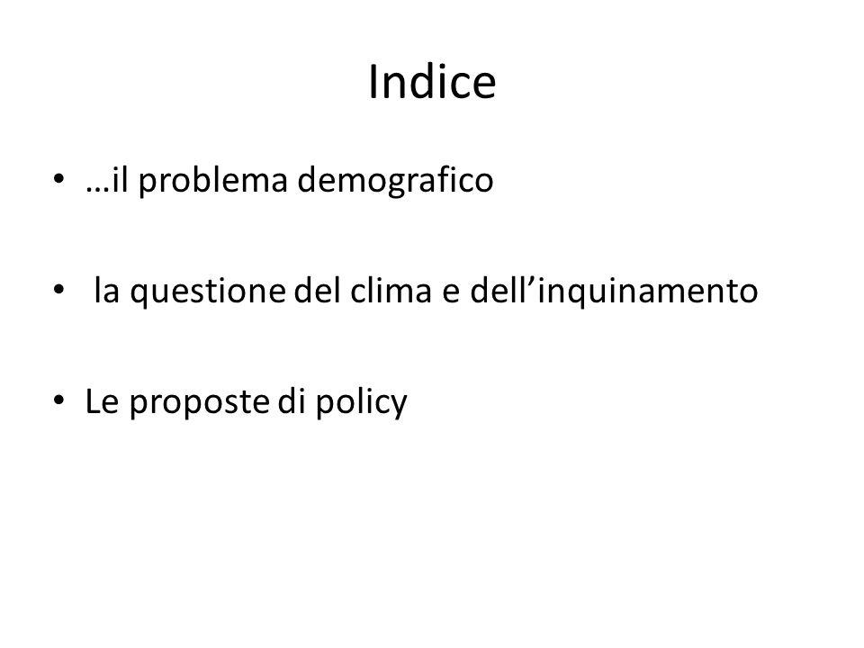 Indice …il problema demografico la questione del clima e dellinquinamento Le proposte di policy