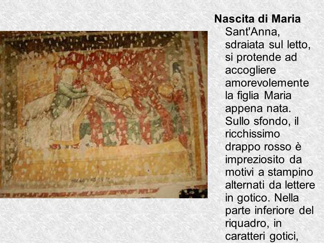 Nascita di Maria Sant'Anna, sdraiata sul letto, si protende ad accogliere amorevolemente la figlia Maria appena nata. Sullo sfondo, il ricchissimo dra