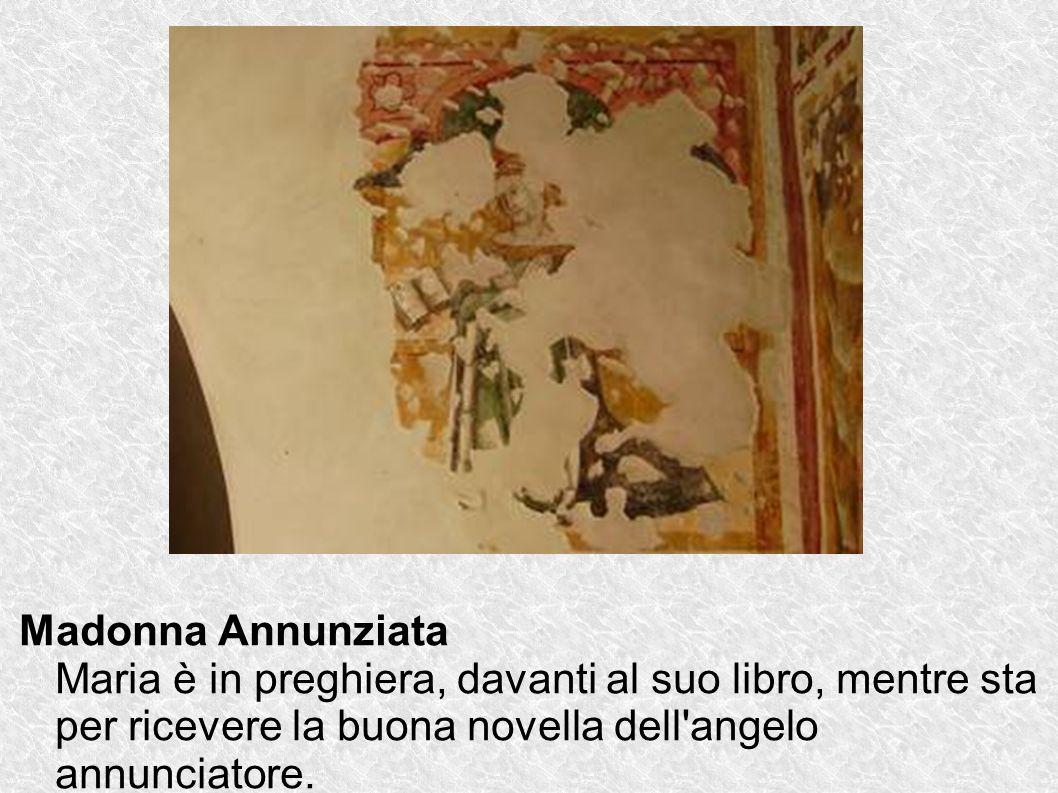 Madonna Annunziata Maria è in preghiera, davanti al suo libro, mentre sta per ricevere la buona novella dell'angelo annunciatore.