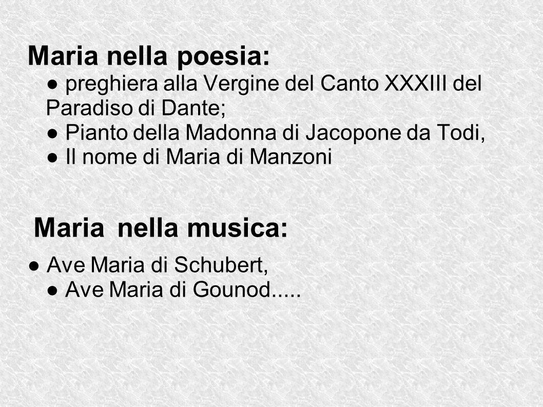 Maria nella poesia: preghiera alla Vergine del Canto XXXIII del Paradiso di Dante; Pianto della Madonna di Jacopone da Todi, Il nome di Maria di Manzo