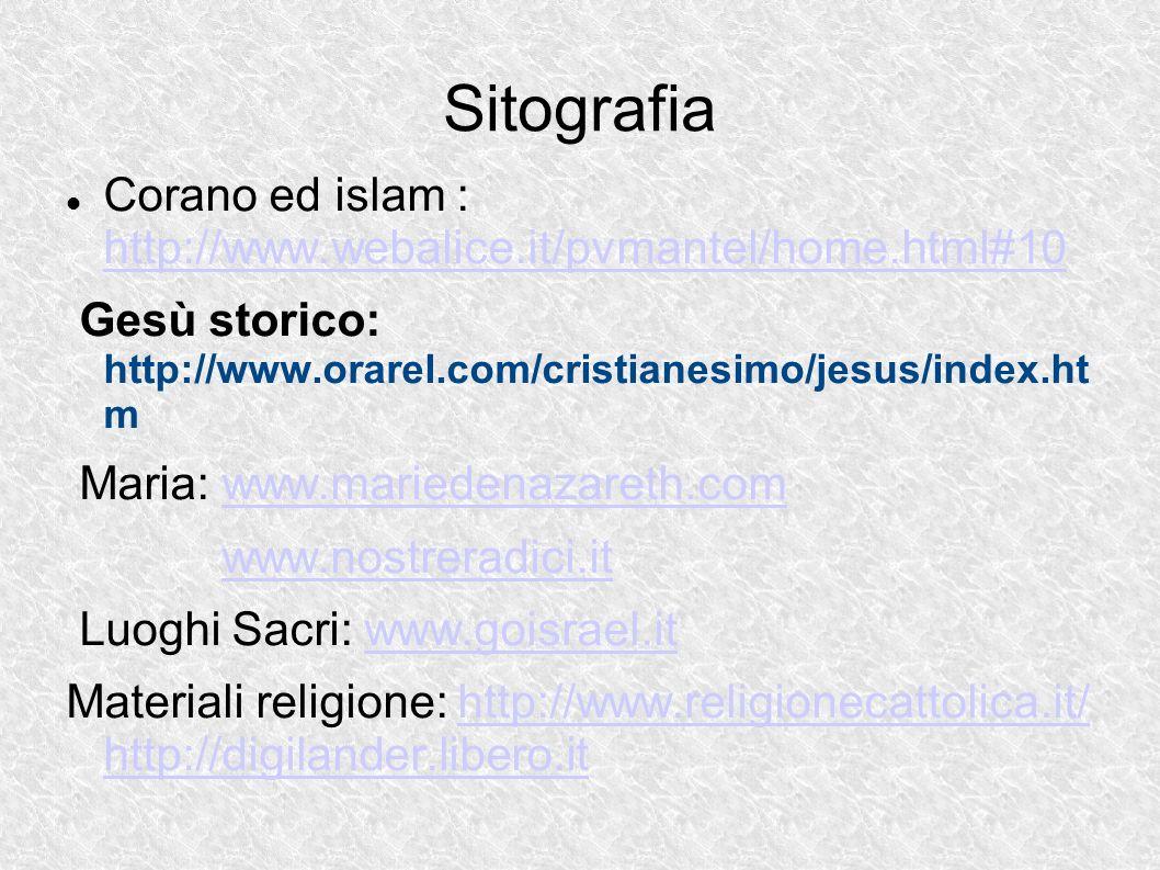 Sitografia Corano ed islam : http://www.webalice.it/pvmantel/home.html#10 http://www.webalice.it/pvmantel/home.html#10 Gesù storico: http://www.orarel