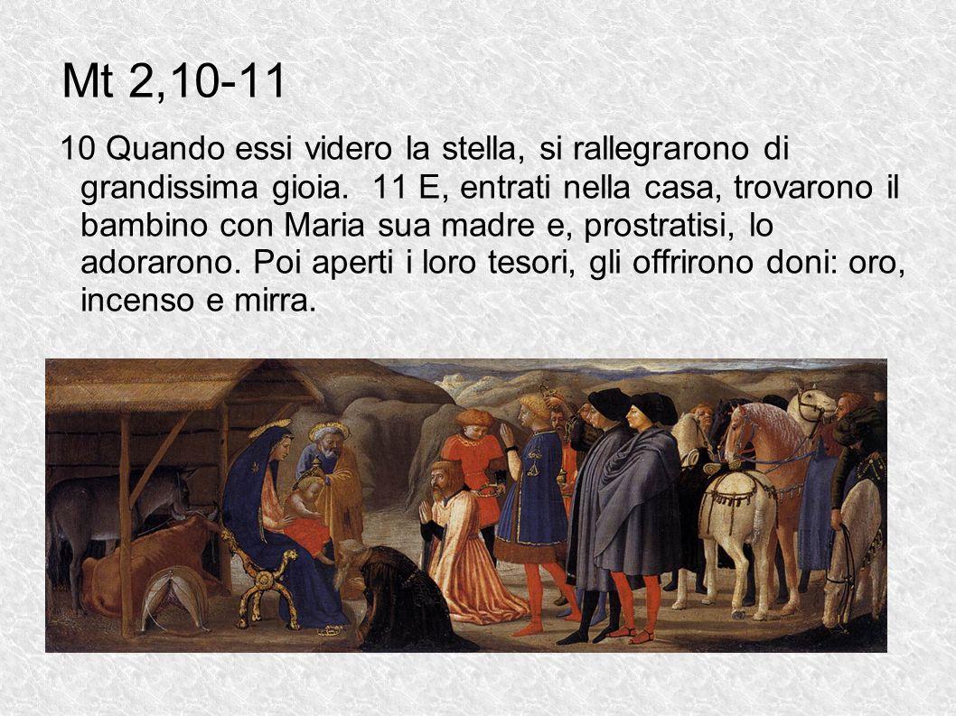 Mt 2,10-11 10 Quando essi videro la stella, si rallegrarono di grandissima gioia. 11 E, entrati nella casa, trovarono il bambino con Maria sua madre e