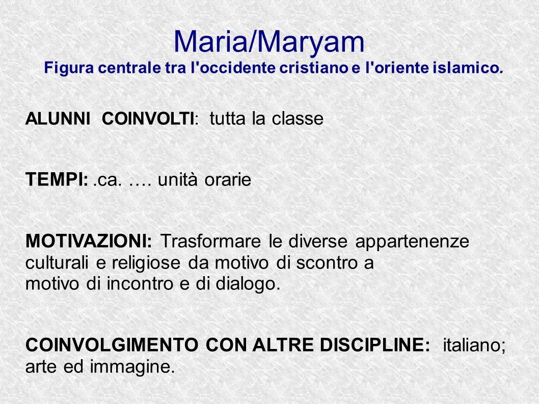 Maria/Maryam Figura centrale tra l'occidente cristiano e l'oriente islamico. ALUNNI COINVOLTI: tutta la classe TEMPI:.ca. …. unità orarie MOTIVAZIONI: