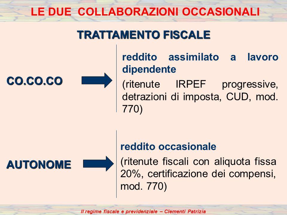 TRATTAMENTO FISCALE reddito assimilato a lavoro dipendente (ritenute IRPEF progressive, detrazioni di imposta, CUD, mod.