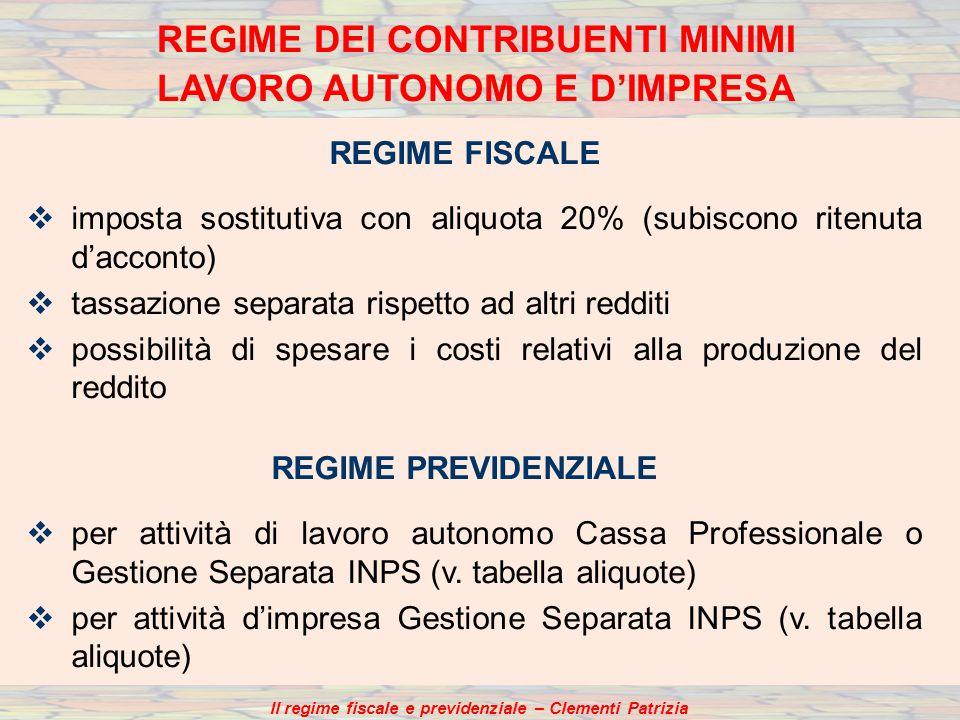 REGIME FISCALE imposta sostitutiva con aliquota 20% (subiscono ritenuta dacconto) tassazione separata rispetto ad altri redditi possibilità di spesare
