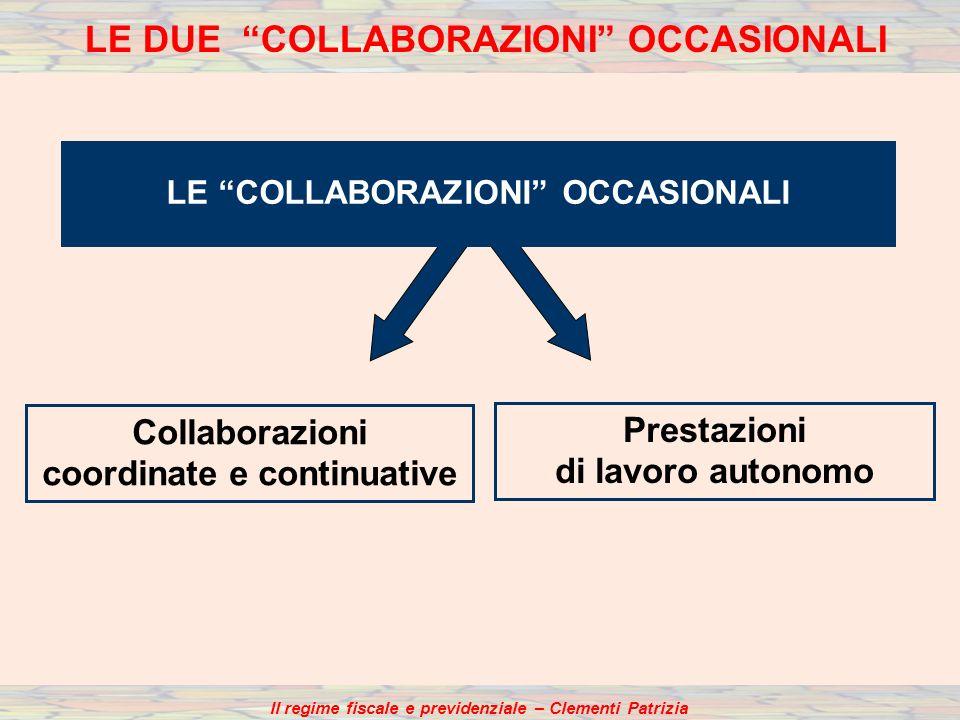 LE COLLABORAZIONI OCCASIONALI Prestazioni di lavoro autonomo Collaborazioni coordinate e continuative LE DUE COLLABORAZIONI OCCASIONALI Il regime fiscale e previdenziale – Clementi Patrizia