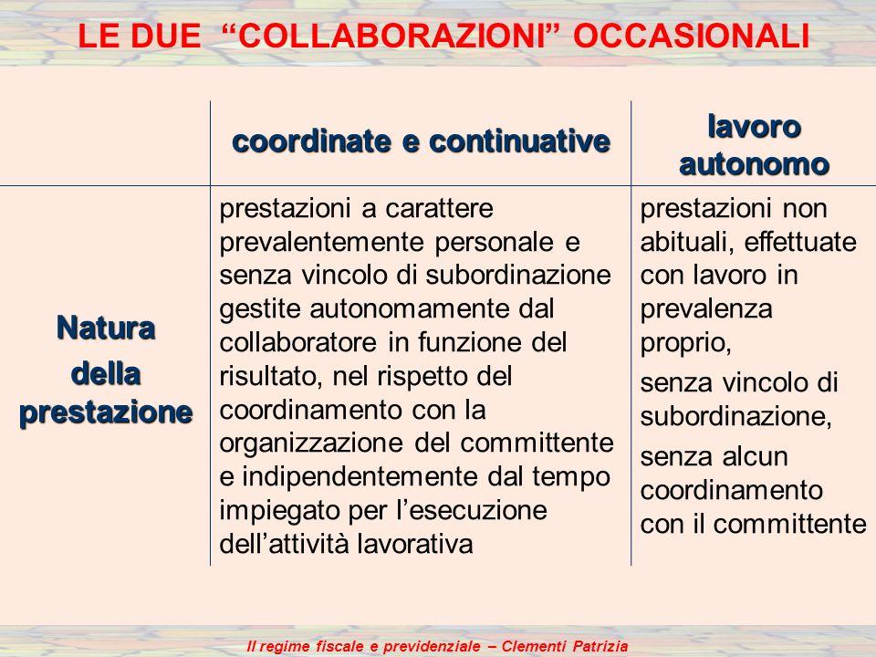 coordinate e continuative lavoro autonomo Natura della prestazione prestazioni a carattere prevalentemente personale e senza vincolo di subordinazione