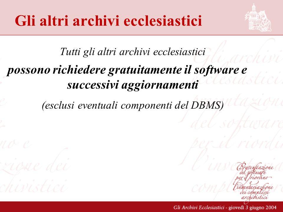Gli altri archivi ecclesiastici Tutti gli altri archivi ecclesiastici possono richiedere gratuitamente il software e successivi aggiornamenti (esclusi eventuali componenti del DBMS)