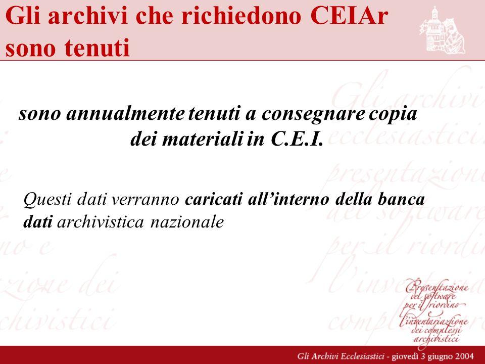 Gli archivi che richiedono CEIAr sono tenuti sono annualmente tenuti a consegnare copia dei materiali in C.E.I. Questi dati verranno caricati allinter