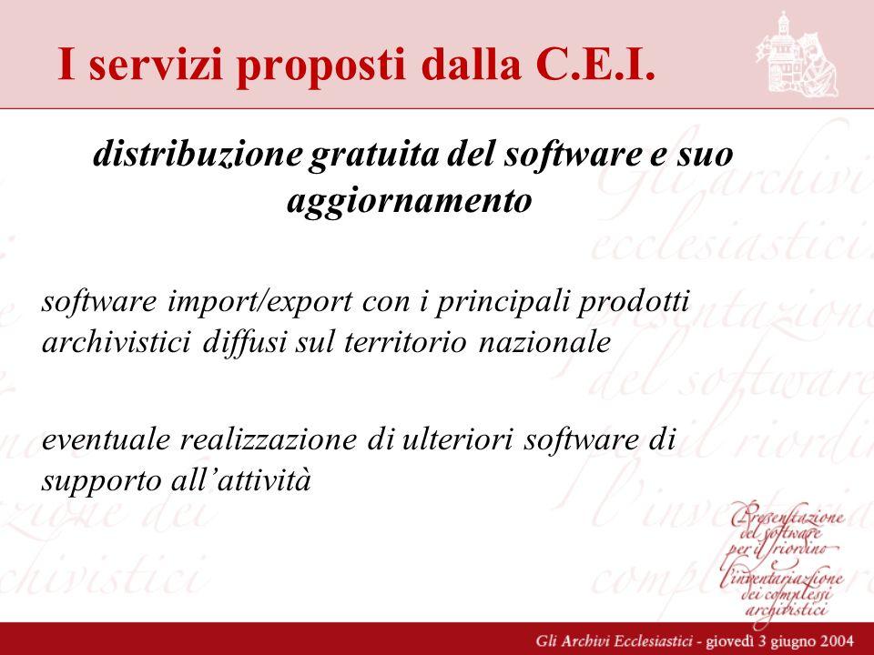 I servizi proposti dalla C.E.I. distribuzione gratuita del software e suo aggiornamento software import/export con i principali prodotti archivistici