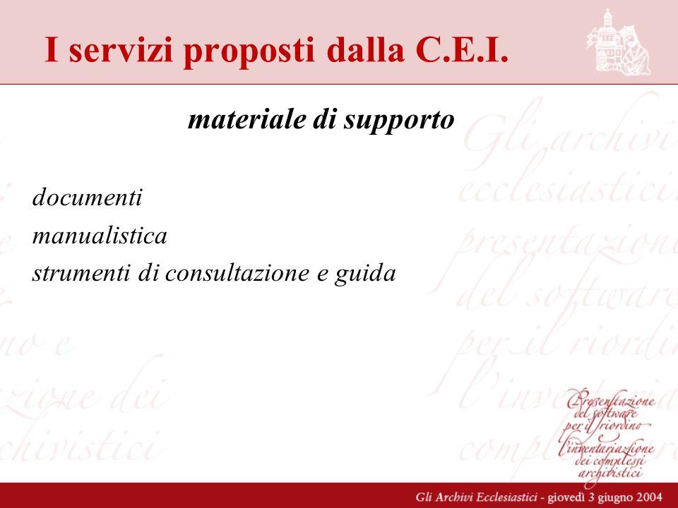 I servizi proposti dalla C.E.I. materiale di supporto documenti manualistica strumenti di consultazione e guida