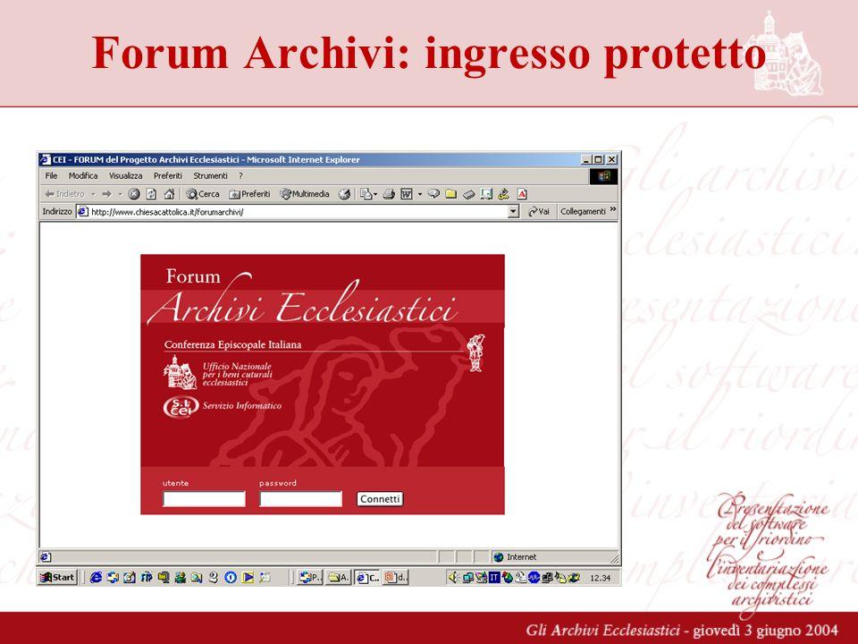 Forum Archivi: ingresso protetto