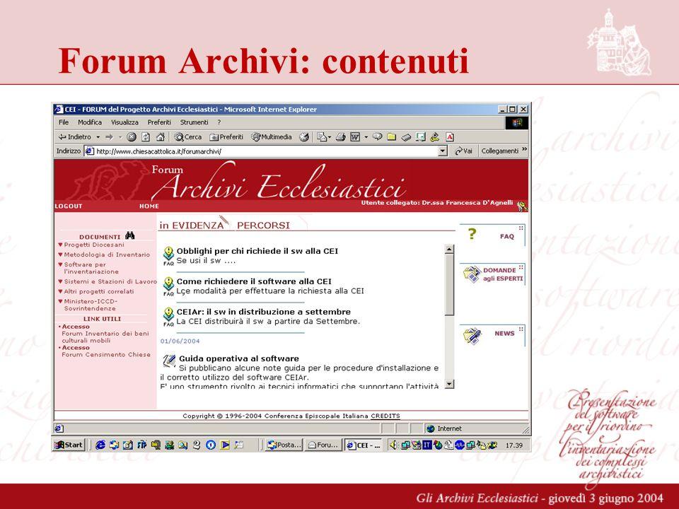 Forum Archivi: contenuti