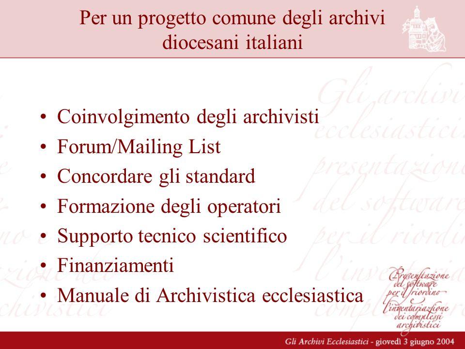Per un progetto comune degli archivi diocesani italiani Coinvolgimento degli archivisti Forum/Mailing List Concordare gli standard Formazione degli operatori Supporto tecnico scientifico Finanziamenti Manuale di Archivistica ecclesiastica