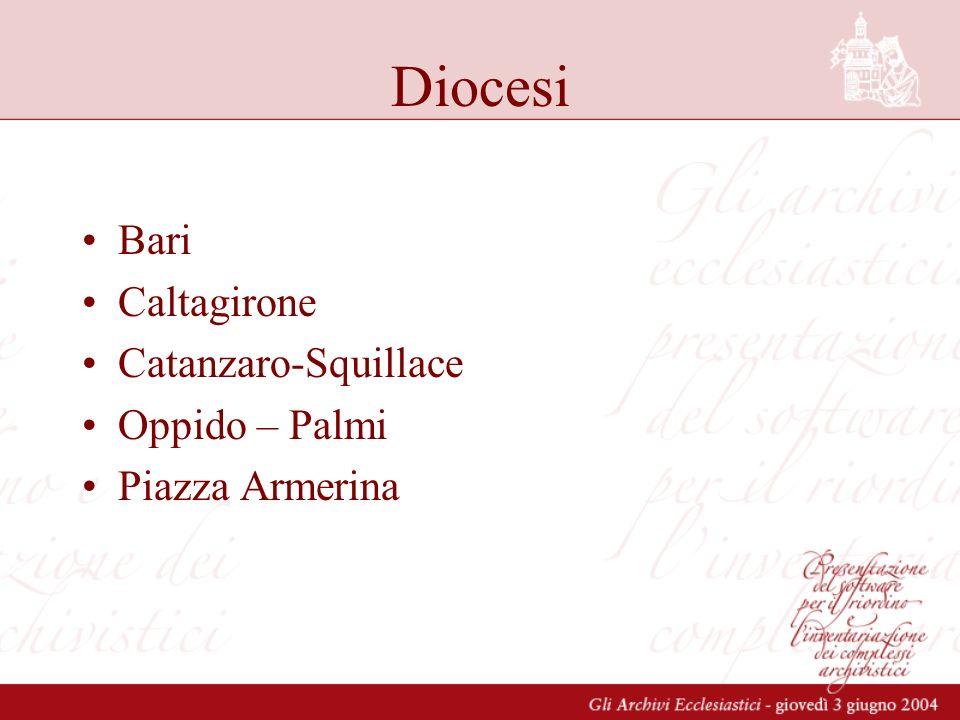 Diocesi Bari Caltagirone Catanzaro-Squillace Oppido – Palmi Piazza Armerina