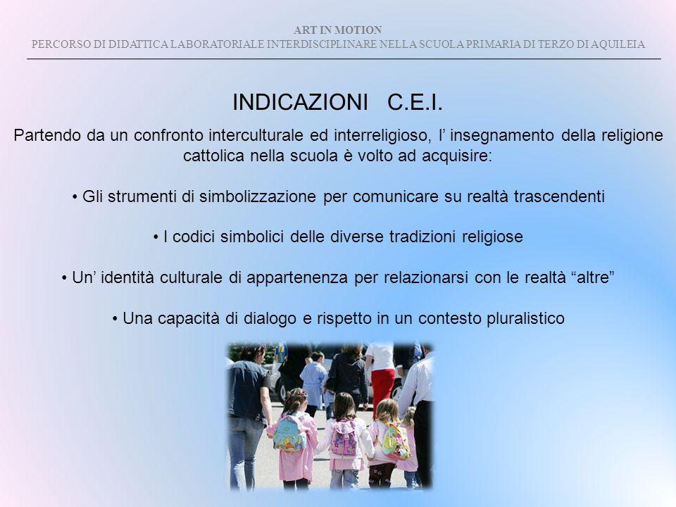 ART IN MOTION PERCORSO DI DIDATTICA LABORATORIALE INTERDISCIPLINARE NELLA SCUOLA PRIMARIA DI TERZO DI AQUILEIA INDICAZIONI C.E.I. Partendo da un confr