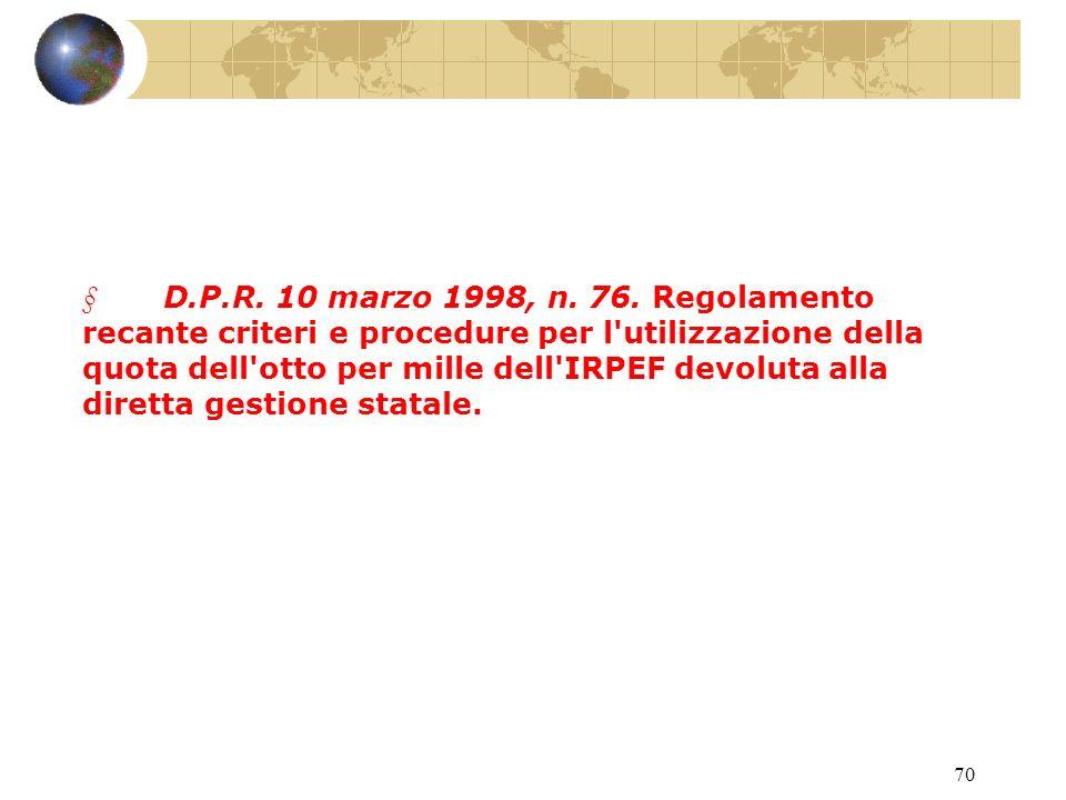 69 L.20 maggio 1985, n. 222.