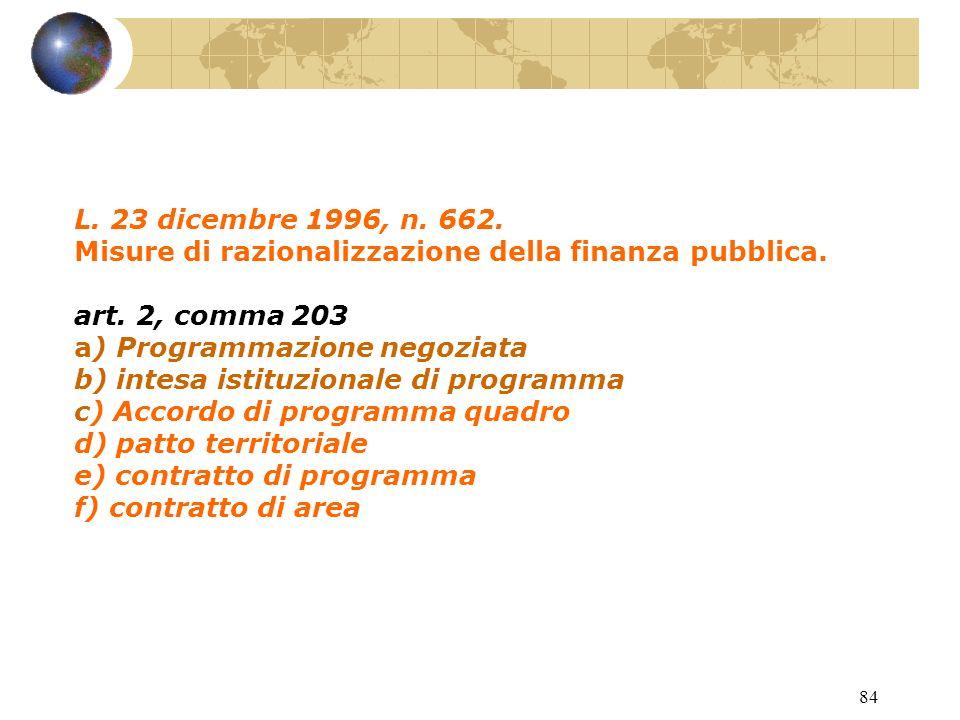 83 INTESE ISTITUZIONALI DI PROGRAMMA E ACCORDI DI PROGRAMMA QUADRO STATO - REGIONI