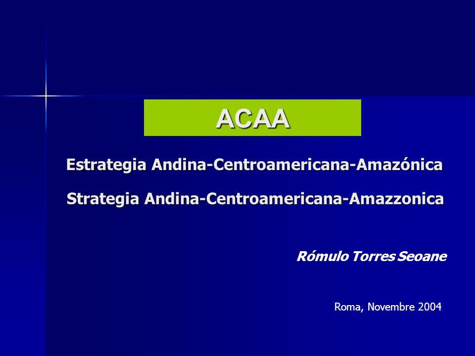 Estrategia Andina-Centroamericana-Amazónica ACAA Rómulo Torres Seoane Roma, Novembre 2004 Strategia Andina-Centroamericana-Amazzonica